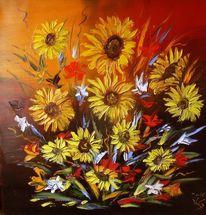 Blumenbukett, Ölmalerei, Sonnenblumen, Spachteltechnik
