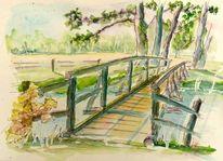 Bach, Aquarellmalerei, Kolorierte zeichnung, Holzbrücke