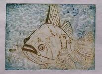 Aquatinta, Fisch, Grafik, Radierung