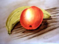 Apfel, Stillleben, Airbrush, Malerei