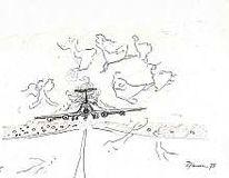 Flugzeug, Zeichnung, 1975, Anflug