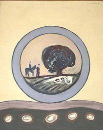Malerei, Expressionismus, Baum, Reiter