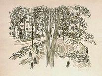 1948, Stadtansicht, Park, Lithopgraphie