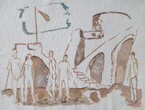 Dorfplatz, Aaquarell, Dorf, Malerei
