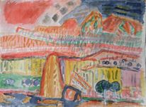 Malerei, Berge, Mexiko, 1955