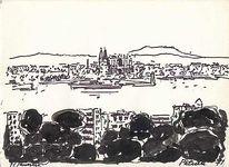 Stadtansicht, 1971, Mallorca, Gemälde