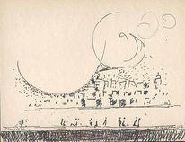 Skizze, Malerei, Mediterrane landschaften, Zeichnung