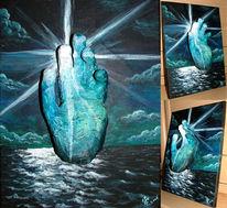 Licht, Hand, Meer, 3d