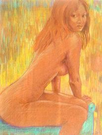 Aquarellmalerei, Quadriga akt, Akt, Grafik