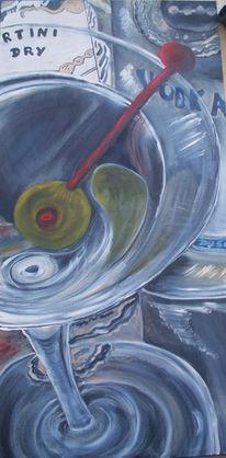 Malerei, Stillleben, Glas, Martini