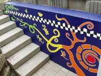 Eidechse, Malerei, Wandmalerei, Betonmauer