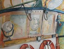 Fischland, Aquarellmalerei, Boot, Kutter