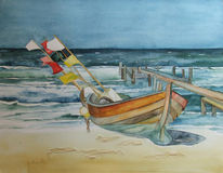 Ostsee, Aquarellmalerei, Boot, Fischland