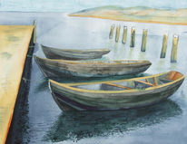 Ostsee, Boot, Aquarellmalerei, Kaikante