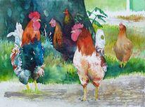 Henne, Bunter hühnerhof, Aquarellmalerei, Huhn
