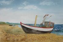 Boot, Ostsee, Fischland, Aquarellmalerei