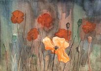 Aquarellmalerei, Abend, Mecklenburg, Mohn