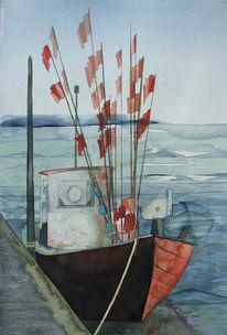 Boot, Ostsee, Fischer, Aquarellmalerei