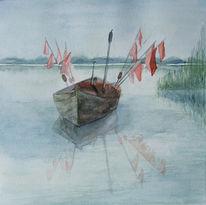 Aquarellmalerei, Fischland, Boot, Ostsee