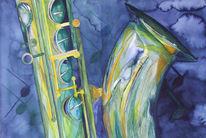 Aquarellmalerei, Musik, Saxofon, Malerei