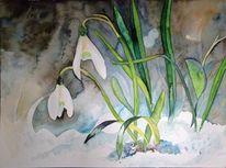 Frühling, Aquarellmalerei, Schneeglöckchen, Aquarell