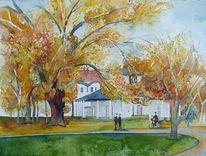 Kamp, Herbst, Aquarellmalerei, Bad doberan