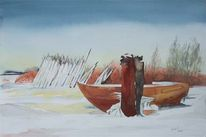 Achterwasser, Fischer, Winter, Aquarellmalerei