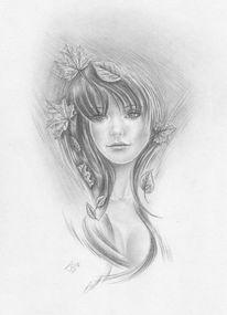 Mädchen, Blätter, Ahorn, Frau