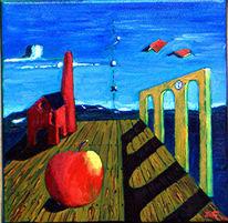 Apfel, Surreal, Viadukt, Malerei