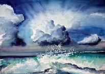 Strand, Brandung, Welle, Aquarellmalerei