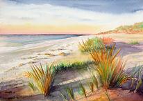 Dämmerung, Malerei, Meer, Landschaft