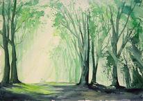 Aquarellmalerei, Wald, Gegenlicht, Baum