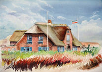 Malerei, Landschaft, Bauernhaus, Friesenhaus