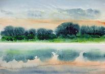 Malerei, See, Spiegelung, Morgen