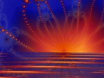Abstrakt, Feuerwerk, Digital, Sonnenuntergang