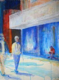 Acrylmalerei, Strasze, Menschen, Bewegung