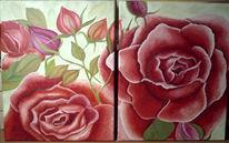 Malerei, Stillleben, Rot, Blumen
