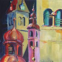 Malerei, Rosa, Turm