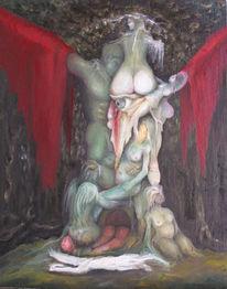 Akt, Fantasie, Ölmalerei, Wald