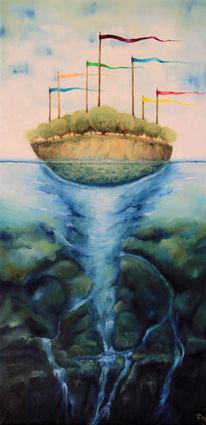 Insel, Meer, Fahne, Fantasie