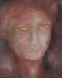 Portrait, Rot, Malerei, Frau