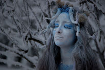 Blau, Bodypainting, Bodyart, Winter