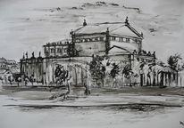 Dresden, Zeichnung, Semperoper, Stadtansicht