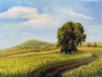 Ölmalerei, Landschaft, Baum, Sommer