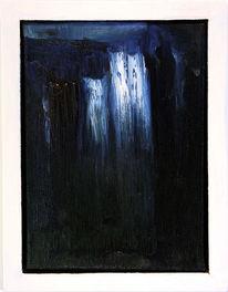 Blau, Wasserfall, Ölmalerei, Wasser