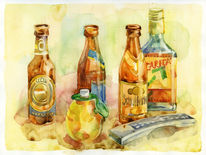 Ungestellt, Tequilla, Zitrone, Malerei