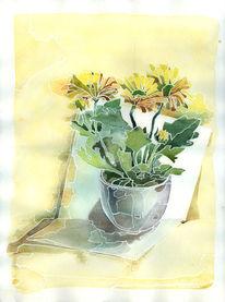 Malerei, Blumen, Pflanzen, Aquarellmalerei