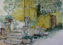 Grafik, Aquarellmalerei, Aquarell, Garten
