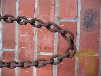 Ziegelmauer, Eisenkette, Alt, Fotografie