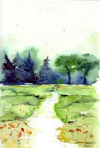 Landschaft, Feld, Wald, Malerei